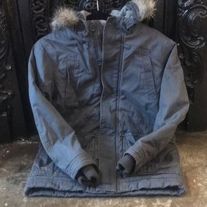 H&M size L 10-12 grey canvas hooded parka